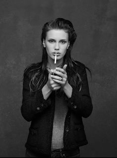 French Actress and Model; Marine Vacth shot by Karl Lagerfeld and styled by Carine Roitfeld for the Chanel Little Black Jacket collection