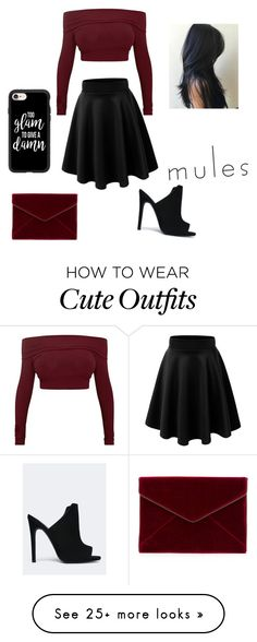 """mules outfit"" by swagchic14 on Polyvore featuring Qupid, Rebecca Minkoff, GURU and Casetify"