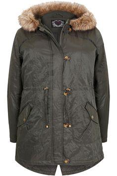 Khaki Metallic Parka Coat With Fur Hood Plus size 16,18,20,22,24,26,28,30,32,34,36
