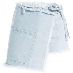 Sandy Liang Asymmetric Denim Skirt featuring polyvore, women's fashion, clothing, skirts, bottoms, denim, blue, asymmetrical skirt, zipper skirt, blue skirt, button-front denim skirts and button skirt