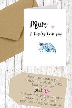 Mothers Day CARD Turtle Mum Card Nanny Wife Birthday Friend Friendship Valentines