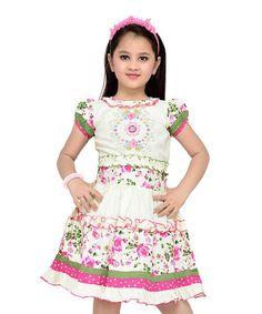 Look at this #zulilyfind! Pink & Green Floral Ruffle-Hem A-Line Dress - Toddler & Girls #zulilyfinds