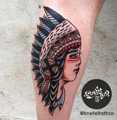 done by @KnefelTattoo at @chybatytattoo Katowice, PL  #oldschooltattoo #oldlines #traditionaltattoo #boldtattoo #vintagetattoo #tradworkers #classictattoo#vintage #traditional #oldschool #knefeltattoo #chybatytattoo #katowice #poland #tattooidea #tattoo #indiantattoo #indian #redskin #woman #girl