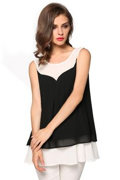 Angvns Ladies Women Fashion Chiffon Sleeveless Patchwork Vest Casual Beach Loose Tank Tops_Tees / T-shirt_Women_Women's Fashion Zone & Best Price Clothes