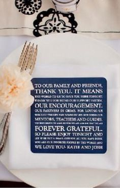 A note of thanks rather than a menu.