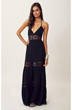 Michelle Jonas - Lace Inset Halter Maxi Dress