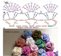 Diy Crafts Knitting, Diy Crafts Crochet, Cute Crochet, Crochet Projects, Sewing Crafts, Crochet Flower Tutorial, Crochet Flower Patterns, Flower Applique, Crochet Designs