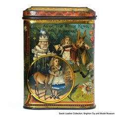 "Alice Through the Looking-Glass biscuit tin, panel 3:  ""Alice, the White King, and the Messenger"", ""Alice and the Fawn"""