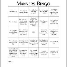 Printables Manners Worksheets randomly generated manners bingo card party free game with 4 cards