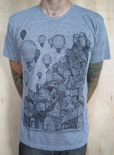 VILLAGE on athletic grey by timberps on Etsy, $26.00