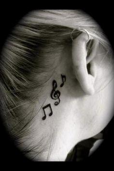 i love the tattoos behind the ear - Tattoo For Women Small Music Tattoos, Tiny Bird Tattoos, Music Tattoo Designs, Tattoos For Women Small, Tattoo Music, Body Art Tattoos, Hand Tattoos, Tatoos, Note Tattoo