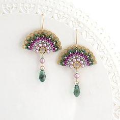 Pendientes, pendientes de brillantes, pendientes de la gota verde, Pastel pendientes, para las mujeres, ventilador pendientes, pendientes de cristal verde