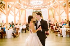 Silver & Lace vintage barn wedding.  photo by The Tarnos.  Bride & Groom First Dance.