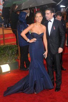 Alicja Bachleda-Curuś and Colin Farrell Colin Farrell, Golden Globes, Polish Girls, Red Carpet, Blues, Stars, Formal Dresses, People, Women