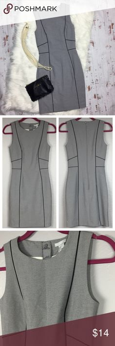 H&M gray w/ black trim sheath career dress ❤️ H&M gray with black trim sheath career dress. Pre-owned condition, some wear near the bottom of the dress. (see photos). Size 4. ♥️ no trades, please. H&M Dresses