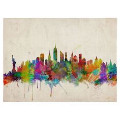 """New York Skyline"" by Michael Tompsett Framed Painting Print on Wrapped Canvas & Reviews   AllModern"