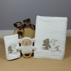 Little Lamb baby bath towel and face washer baby gift hamper makes a gorgeous neutral baby gift. Baby Gift Hampers, Massage Oil, Bath Design, Corporate Gifts, Bath Time, Bath Towels, Washer, Lamb, Baby Gifts
