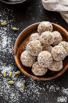 Coconut Cardamom Energy Bites via @cookwithmanali