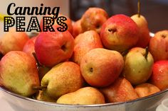 canning pears -lemon juice bath & make light syrup or use apple juice, or white grape juice Canning Food Preservation, Preserving Food, Canning Pears, Pear Butter, Canning Supplies, Canned Food Storage, Fruit Preserves, Home Canning, Grape Juice