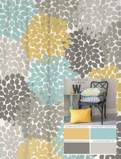 Bathroom color inspiration. Need towels in these colors! | Dahlia Floral Shower Curtain in Yellow, Blues and Grays