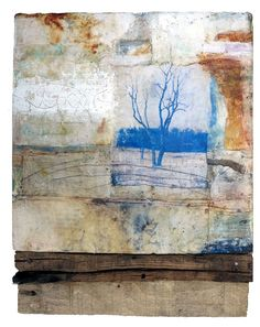 Only in Solitude is an encaustic mixed media painting. The artist is Bridgette Guerzon Mills.
