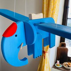Flying Blue Elephant – Wooden Mobile Toy – Nursery Mobile – Kids Room Decor – Baby Shower Gift Children's room – home accessories Owl Kitchen Decor, Farmhouse Kitchen Decor, Find Furniture, Large Furniture, Mobiles For Kids, Mobile Kids, Wooden Elephant, Wood Bird, Wooden Hand