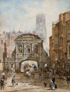 Architektura wiktoriańskiej Anglii na obrazach Louise Rayner Watercolor Landscape, Landscape Art, Watercolor Paintings, Watercolour, Great Fire Of London, The Great Fire, Bridges Architecture, Portland Stone, Medieval Houses