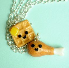 Sunday, July 6th is National Fried Chicken Day, there's no better way to celebrate than by wearing this yummy chicken and waffle necklace .... Price: $34.99 .... Where to Buy: AlwaysFits.com #handmade #jewelry #bffs