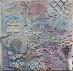 A house filled with love: 8x8 mixed media canvas done as member of the Scrapping Everyday Miracles Design Team
