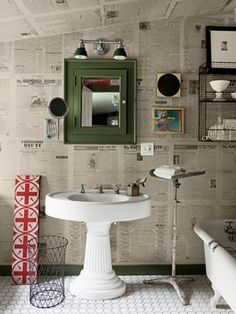 news paper wall, great reuse of news paper!!!