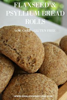 Flaxseed psyllium husk bread rolls that are easy to make and look like proper bread too! High in fibre, low in carbs and gluten free they are a great healthy bread roll.