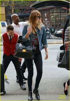 Dakota Johnson rocks a denim jacket while grabbing some grub on Tuesday (July 22) in New York City.