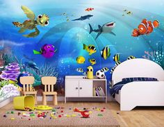 If you've been longing to make a statement in your home, you will be pleased to know that there are loads of gorgeous wall mural ideas to choose from....   Under the Sea #WallMurals #WallDecor #Murals #WallMuralIdeas #WallMural #Mural Fish Wallpaper, Rainbow Wallpaper, Wallpaper Murals, Photo Wallpaper, Nursery Wall Decor, Nursery Art, Sea Nursery, Disney Nursery, Kids World Map