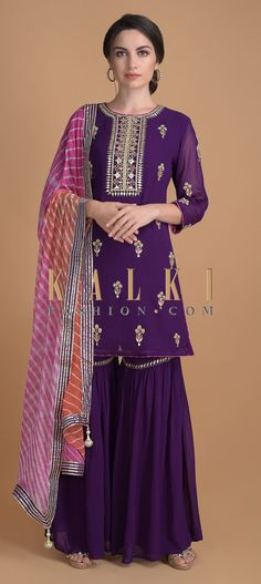 Amethyst purple sharara suit in georgette with gotta patches, zari, beads and thread work on the placket. Gharara Designs, Choli Designs, Kurti Neck Designs, Dress Neck Designs, Blouse Designs, Dress Indian Style, Indian Dresses, Indian Outfits, Sharara Suit