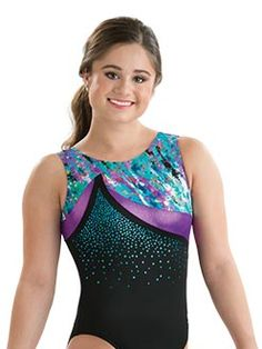Melody Muse Black, Blue, and Purple Gymnastics Tank Leotard from GK Elite Gymnastics Leos, Gymnastics Outfits, Frozen Mermaid, Gymnastics Leotards, Cheerleading, Athletic Tank Tops, Workout, Muse, Formal Dresses