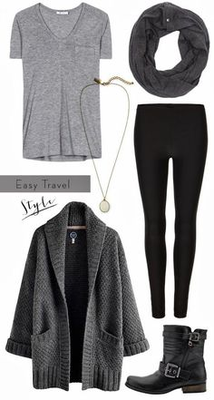 Grey & black with boots Discover and share your fashion ideas on…