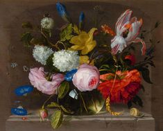 WALSCAPELLE, JACOB VAN (Dordrecht 1644 - 1727 Amsterdam)  Still life of flowers in a vase on a stone plinth with insects.  Oil on panel.  Signed lower right: Jacob Walscappelle.  30 x 37.5 cm.