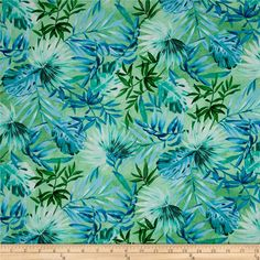 Timeless Treasures Oasis Tropical Leaves Green from @fabricdotcom  From Timeless Treasures, this cotton print fabric features island palm leaves and is perfect for quilting, apparel and home decor accents. Colors include shades of blue and green.