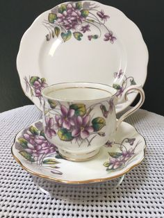 "VINTAGE ROYAL ALBERT ""FLOWER OF THE MONTH TRIO SERIES, #2, VIOLETS"" #RoyalAlbert #Violets"