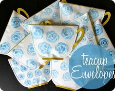 Teacup envelopes with tea bag notes