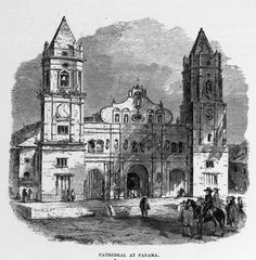 Panama Cathedral Drawing    Vintage black and white drawing of the Cathedral of Panama. This cathedral can still be found in Panama, virtually unchanged from how it appears in this public domain church drawing.