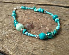 #Turquoise #beaded #anklet #Handmade beaded Jewellery bright boho Silver Anklets, Beaded Anklets, Beaded Bracelets, Handmade Beaded Jewelry, Boho Jewelry, Beaded Jewellery, Pink Earrings, Blue Necklace, Turquoise Beads