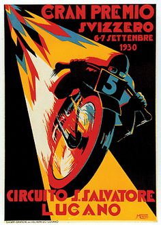 Swiss Grand Prix Europe motorcycle race 1930 poster - repinned by http://www.motorcyclehouse.com/