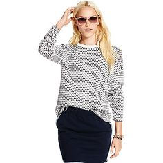 Tommy Hilfiger women's sweater. For the girl who likes to change her mind, our genius reversible sweater offers two takes in one. Spun from soft cotton with a touch of cashmere.<br>• Classic fit.<br>• 95% cotton, 5% cashmere.<br>• Crewneck, ribbed collar, contrast tipping at hem.<br>• Machine washable.<br>• Imported.<br>
