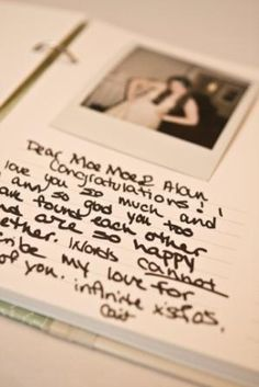 Wedding Guestbook: Polaroid shots pasted next to their signatures/message