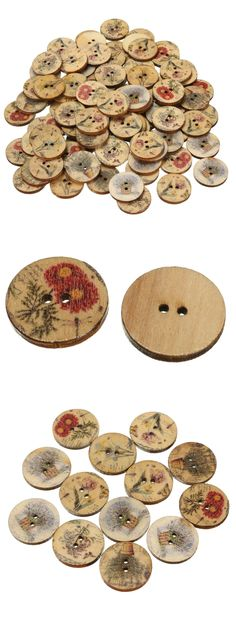 DIY crafts100pcs mixed color wooden flower  sewing buttons