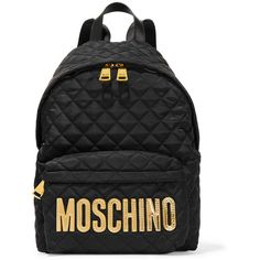 Moschino Faux leather-trimmed quilted shell backpack (900 CAD) ❤ liked on Polyvore featuring bags, backpacks, black, handbags, laptop bag, quilted backpack, vertical-zip laptop backpack, quilted laptop bag and rucksack bag