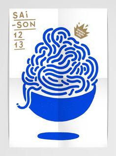 THÉÂTRE DE BELLEVILLE - AFFICHE DE SAISON Programme du début de saison 12/13. Impression A3 bleu + gold
