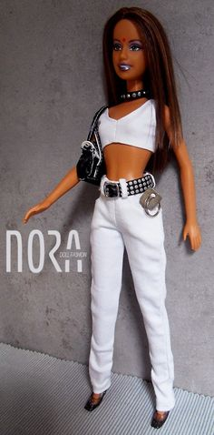 Real white jeans for Barbie doll by NoraDollFashion