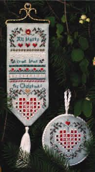 Christmas Hearts Sampler & Ornament (cross stitch & Hardanger embroidery)
